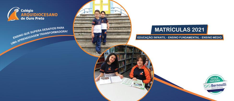 No Colégio Arquidiocesano de Ouro Preto, o processo de matrícula terá início no dia 9 de dezembro, às 13 horas, para o Ano Letivo de 2021. Nessa perspectiva e considerando […]